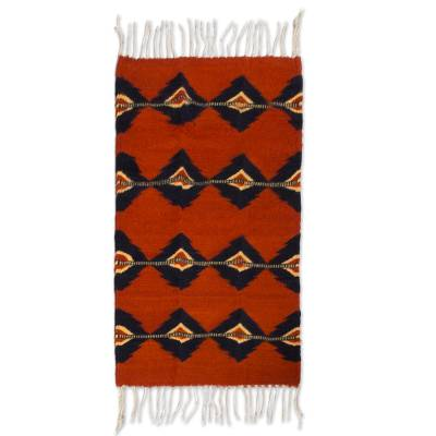 Zapotec wool rug, 'Red Lightning' (2x3) - Mexican Zapotec Wool Rug 2 X 3 Ft Handmade