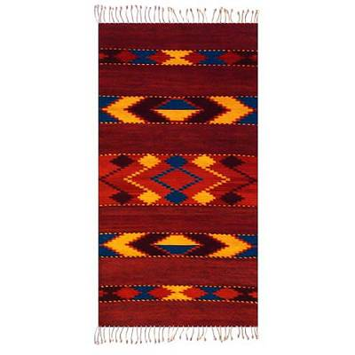 Handcrafted Zapotec Wool Rug in Earthtones (2.5x5)