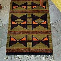 Zapotec wool rug, 'Hourglass' (2x3) - Zapotec wool rug (2x3)