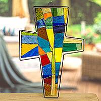 Stained glass cross, 'Power of Faith' - Stained glass cross