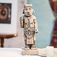 Ceramic figurine, 'Lord of Darkness' - Aztec Archaeological Replica Ceramic Sculpture