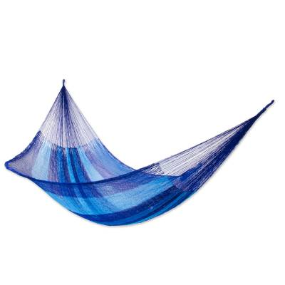 Hammock, 'Blue Caribbean' (double) - Collectible Striped Mayan Hammock (Double)