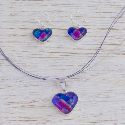 Dichroic art glass jewelry set, 'Hearts in Love' - Heart Shaped Art Glass Pendant Jewelry Set