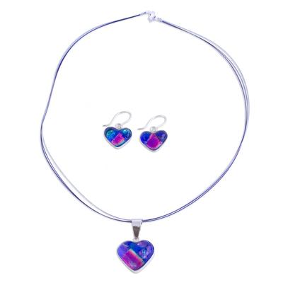 Heart Shaped Art Glass Pendant Jewelry Set