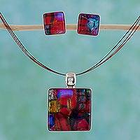 Dichroic art glass jewelry set, 'Rose Garden' - Dichroic Art Glass and Silver Jewelry Set