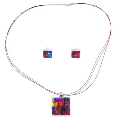 Dichroic art glass jewelry set, 'Rose Garden' - Dichroic Art Glass and Silver Jewelry Set