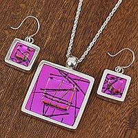 Dichroic art glass jewelry set, 'Magenta Window'