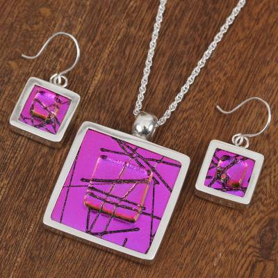 Dichroic art glass jewelry set, 'Magenta Window' - Dichroic Glass Jewelry Set of Necklace and Earrings Mexico
