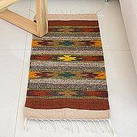 Zapotec wool runner, 'Star Path' (1.5x3) - Handcrafted Zapotec Wool Rug from Mexico (1.5x3)