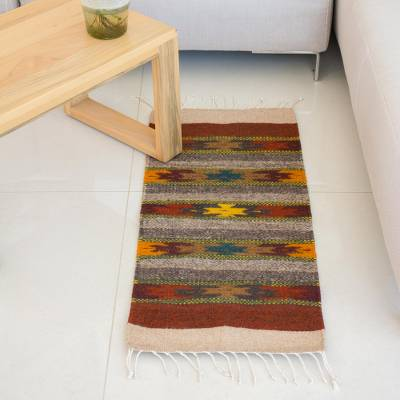 Zapotec wool runner, 'Star Path' (1.5x3) - Zapotec wool runner (1.5x3)