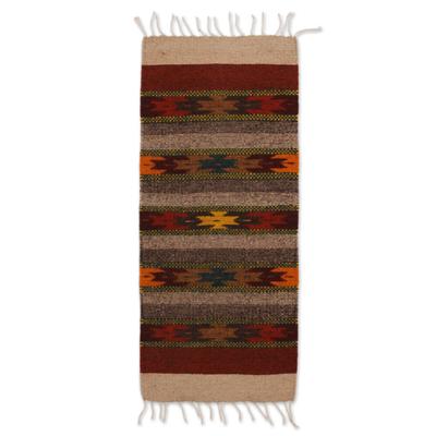 Zapotec wool runner, 'Star Path' (1.5x3) - Zapotec wool runner (1.5x3)
