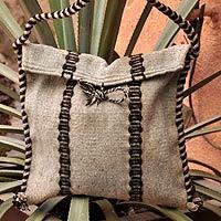 Wool shoulder bag, 'Oaxaca Wine' - Fair Trade Striped Wool Shoulder Bag