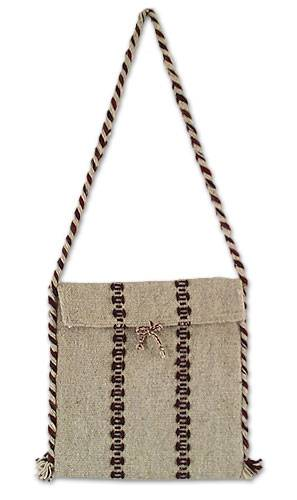Novica Wool shoulder bag, Zapotec Fiesta - Handmade Womens Wool Striped Shoulder Bag