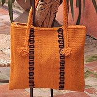 Wool handbag, 'Zapotec Orange' - Wool handbag