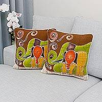 Cotton cushion covers, 'Elephant Family' (pair) - Cotton Cushion Covers from Thailand (Pair)