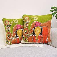 Cotton cushion covers, 'Father and Son' (pair) - Handcrafted Cotton Elephant Cushion Covers (Pair)