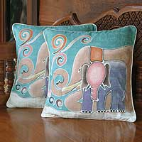 Cotton cushion covers, 'Mom and Baby' (pair) - Hand Made Cotton Cushion Covers (Pair)