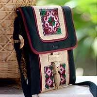 Hemp shoulder bag, 'Ethnic Stars' - Fair Trade Nature Embroidered Women's Bag