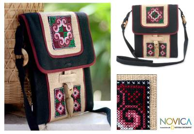 Hemp shoulder bag, Ethnic Stars