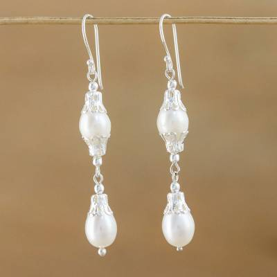 Pearl drop earrings, 'Clouds' - Sterling Silver and Pearl Drop Earrings