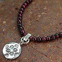 Garnet pendant necklace, 'Lucky Charm' - Garnet and Silver Choker Necklace