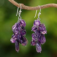 Amethyst cluster earrings, 'Violet Clouds' - Beaded Amethyst Earrings