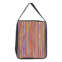 Cotton shoulder bag, 'Lahu Rainbow' - Cotton shoulder bag