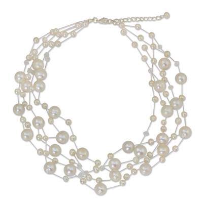 Pearl strand necklace, 'Ivory Fishnet' - Bridal Pearl Necklace