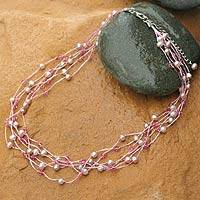 Pearl and crystal choker, 'Rose Mist'