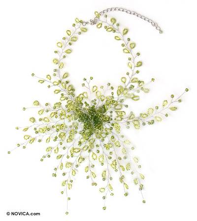 Beaded choker, 'Green Coral Blossom' - Beaded choker