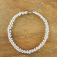 Pearl beaded necklace, 'Extravagant White'