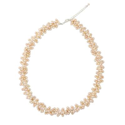 Pearl beaded necklace, 'Extravagant Lilac' - Pearl beaded necklace