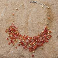 Pearl and carnelian choker, 'Fiery Cloudfall' - Handcrafted Carnelian and Pearl Beaded Choker