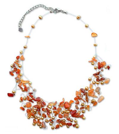 Pearl and carnelian choker, 'Fiery Cloudfall' - Handmade Carnelian and Pearl Necklace