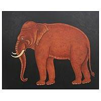 'Auspicious Elephant' - Thai Folk Art Painting of an Elephant