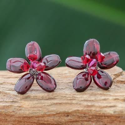 Garnet button earrings, 'Scarlet Flower' - Hand Made Floral Garnet Button Earrings