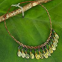 Citrine and garnet choker, 'Raindrops' - Beaded Citrine Choker Necklace