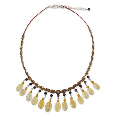 Citrine and garnet choker, 'Raindrops' - Beaded Citrine Choker Necklace