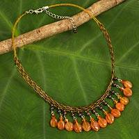 Carnelian and garnet waterfall necklace, 'Sun Drops' - Unique Carnelian Beaded Necklace