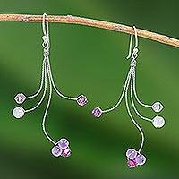 Amethyst and rose quartz dangle earrings, 'Springtime' - Unique Silver and Amethyst Dangle Earrings