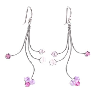 Amethyst and rose quartz dangle earrings, 'Springtime' - Unique Silver and Amethyst Dangle Earrings