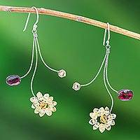 Garnet and citrine earrings, 'Comet' - Handmade Floral Citrine and Garnet Earrings