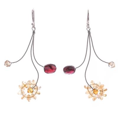 Handmade Floral Citrine and Garnet Earrings