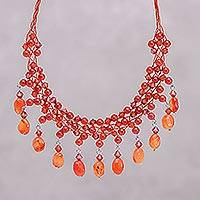 Carnelian waterfall choker, 'Labyrinth'  - Beaded Carnelian Necklace from Thailand