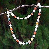 Pearl and jade long strand necklace, 'Mercy and Love' - Pearl And Jade Strand Necklace