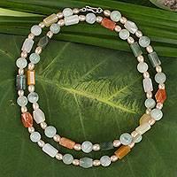 Pearl and jade necklace, 'Pure Love' - Beaded Jade and Pearl Necklace