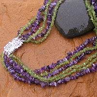 Amethyst and peridot torsade necklace, 'Fern Lilacs' - Fair Trade Amethyst and Peridot Necklace