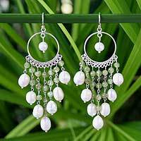 Pearl chandelier earrings, 'Peridot Ruffles' - Pearl and Peridot Chandelier Earrings