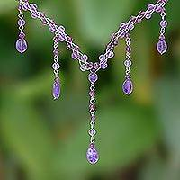 Amethyst Y necklace, 'Violet Empress' - Artisan Crafted Amethyst Y Necklace