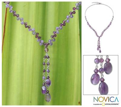 Amethyst and crystal choker, 'Lilac Ice' - Amethyst Beaded Necklace